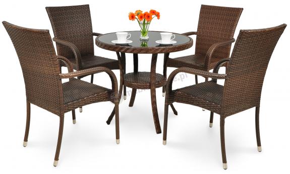 Meble Ogrodowe Florence 6 1 White Tortora : Meble technorattanowe obiadowe stół 80cm i 4 krzesła  Meblobranie