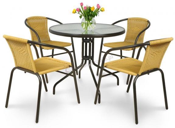 Meble Ogrodowe Florence 6 1 White Tortora : Zestaw tarasowy Ballcon Jasny stół 60cm i 4 krzesła  Meblobranie