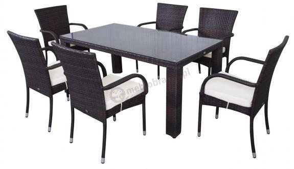 Zestaw NASSICO 160 Brown z 6 krzesłami
