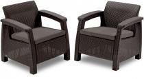 Fotele ogrodowe Corfu Curver Duo Brązowe