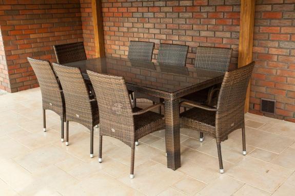Meble Ogrodowe Technorattan Stoł 8 Krzeseł Komplet :  zestaw  160cm i 6 krzeseł  zamiast oferowanych 200cm i 8 krzeseł