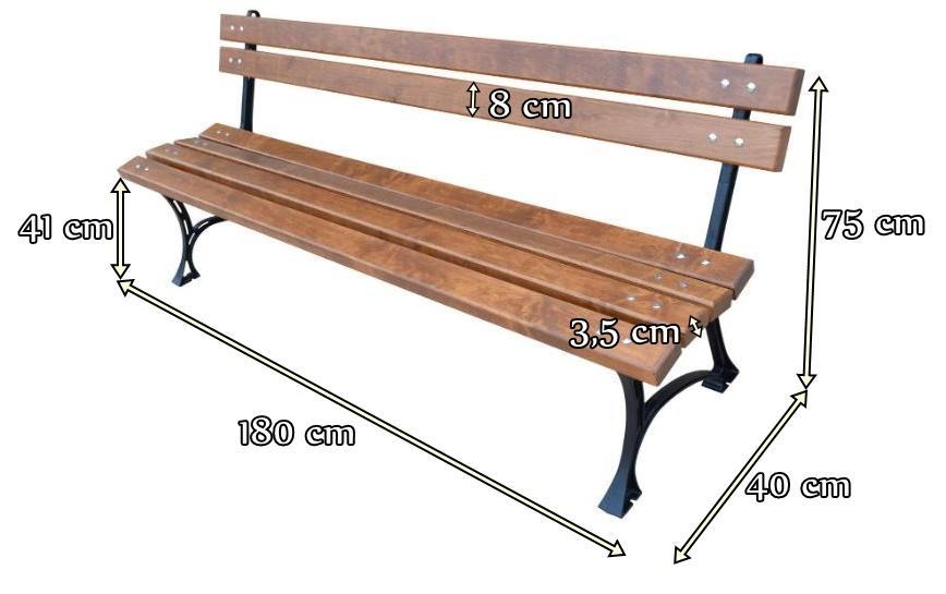 Ławka ogrodowa drewniana 180cm - wymiary