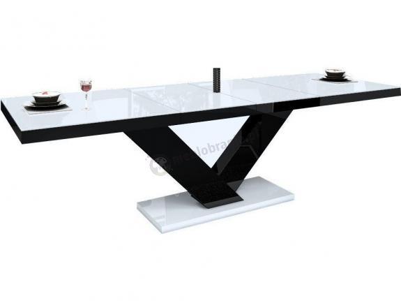 Stół Victoria wysoki połysk - biały-czarny-biały