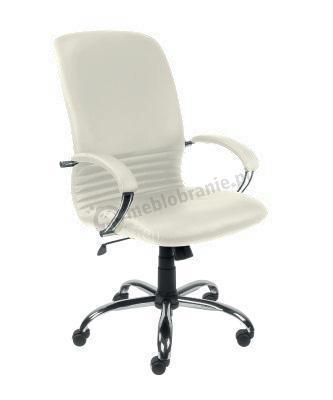 MIRAGE steel02 chrome fotel biurowy skóra kremowa