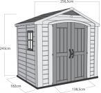 Szkic i wymiary domku ogrodowego Keter Factor 8x6