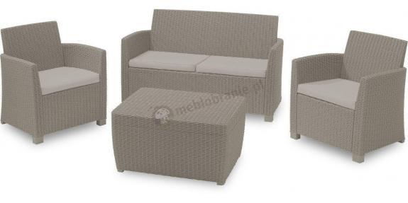 Komplet mebli ogrodowych Corona Box ze stolikiem - skrzynią, cappucino