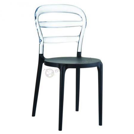 Krzesło z tworzywa Miss Bibi black clear transparent