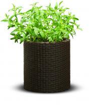 Cylindryczna doniczka Keter - Small Planter (S - 7L) - Brązowa