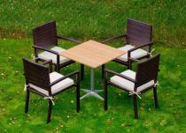 Zestaw technorattanowy z drewnianym stolikiem Carino