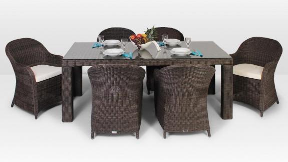 Stół Rapallo 200 cm, 6 foteli Leonardo Royal kolor brązowy
