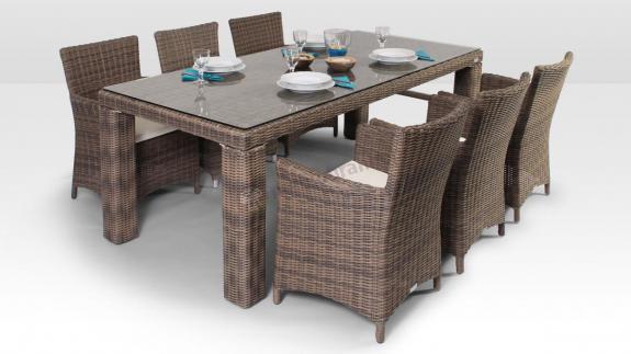 Stół Rapallo 200 cm, 6 foteli Amanda Royal piaskowy