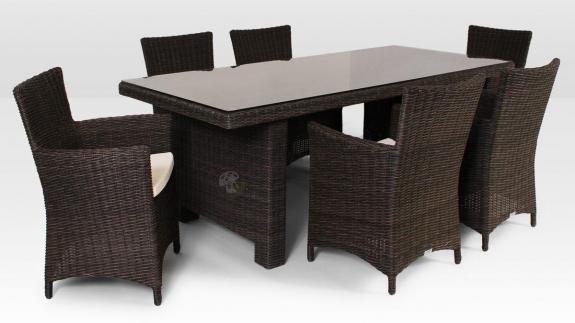 Stół La Vita 200 cm, 6 foteli Amanda Royal technorattanowe meble ogrodowe brązowy