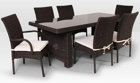 Komplet z technorattanu La Vita 200cm i 6 krzeseł brązowy