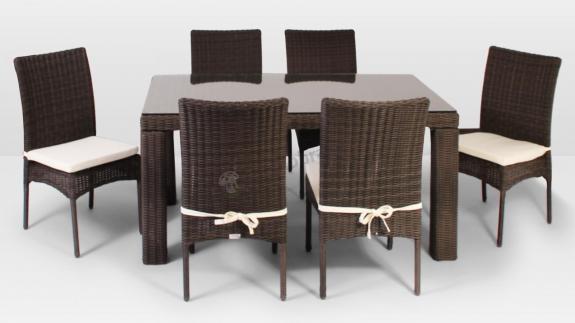 Stół Rapallo 160 cm, 6 krzeseł Strato Royal brązowy