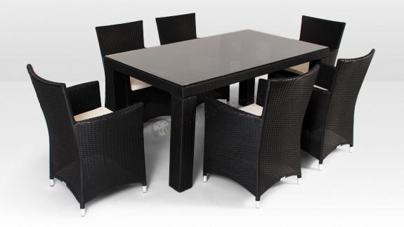 Zestaw obiadowy technorattanowy - stół Rapallo, fotele Amanda Modern