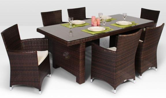 Stół La Vita 200 cm, 6 foteli Amanda Modern brązowy