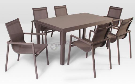 Meble ogrodowe aluminiowe Catania - stół rozkładany 160/200cm i 6 krzeseł