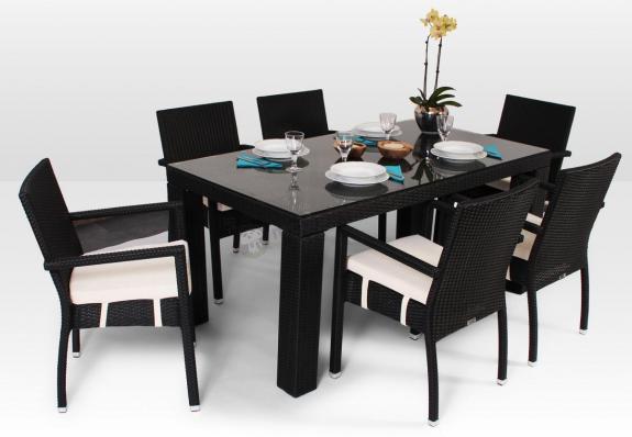 Meble technorattanowe - stół Rapallo 160cm i 6 krzeseł Mona Modern