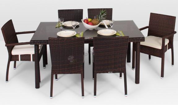 Meble z technorattanu Allegro 160cm i 6 krzeseł z podłokietnikami Mona modern brązowe
