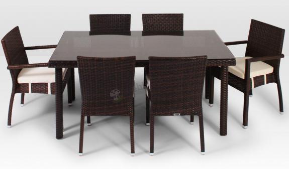 Meble Z Technorattanu Allegro 160cm I 6 Krzeseł Z Podłokietnikami Mona Modern