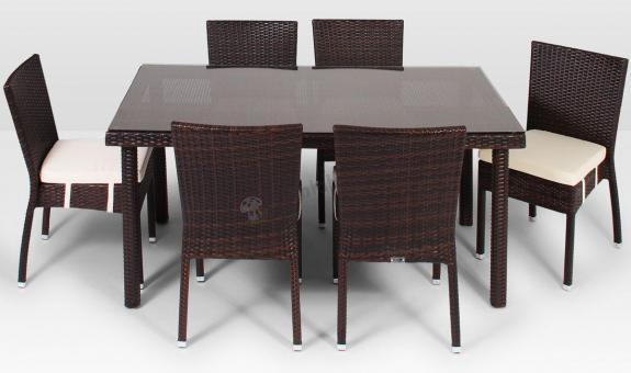 Meble z technorattanu Allegro 160cm i 6 krzeseł Mina modern