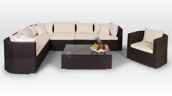 Komplet wypoczynkowy z technorattanu Venezia Royal 10 kolor brązowy