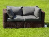 Sofa z technorattanu LIGURITO BROWN Elite & Grey