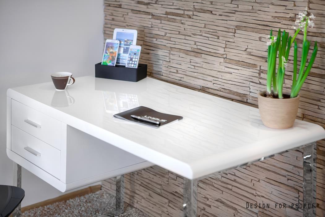 białe biurko w wysokim połysku