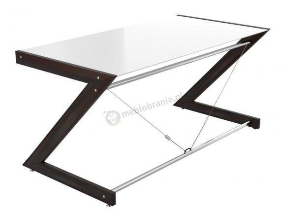 Szklane białe biurko Soft line