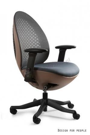 Designerski fotel obrotowy OVO brązowy - przód