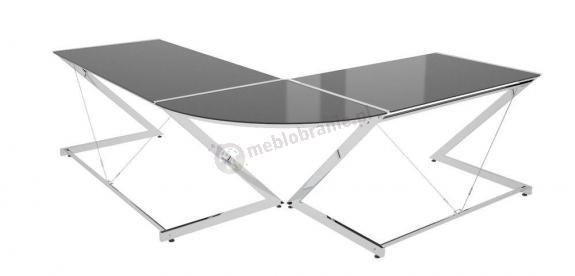 Duże narożne biurko z czarną szybą Z-line