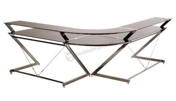 Narożne biurko ze szkła w kolorze czarnym