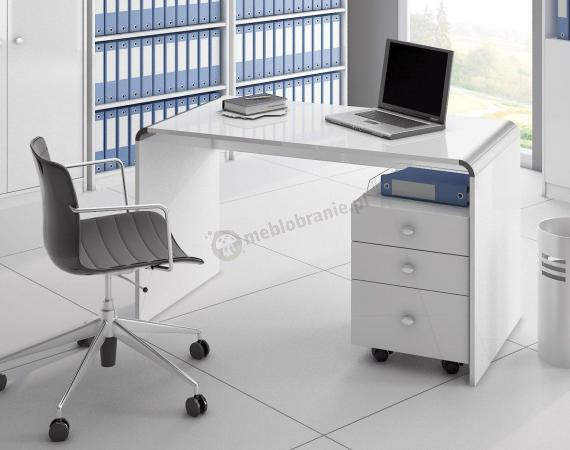Białe biurko Murano 100 z kontenerkiem