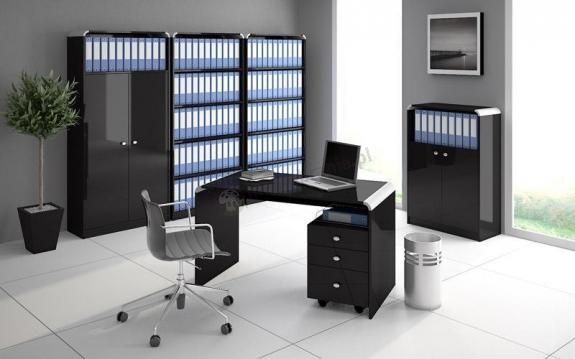 Czarne biurko z kontenerem - Murano 100