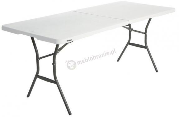 Stół cateringowy ze składanym blatem 183 cm biały granit