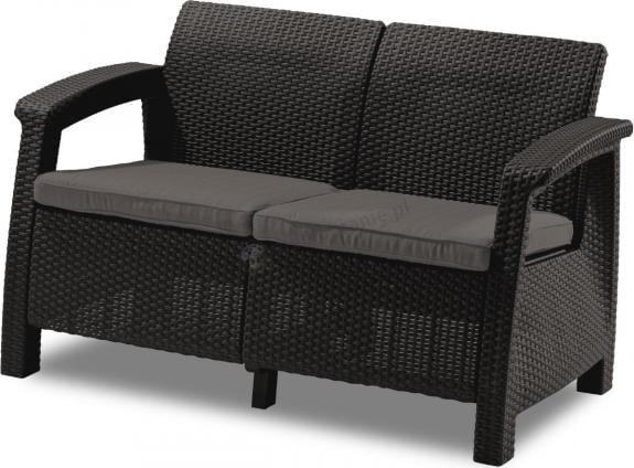 Sofa ogrodowa Corfu Love Seat - brązowa