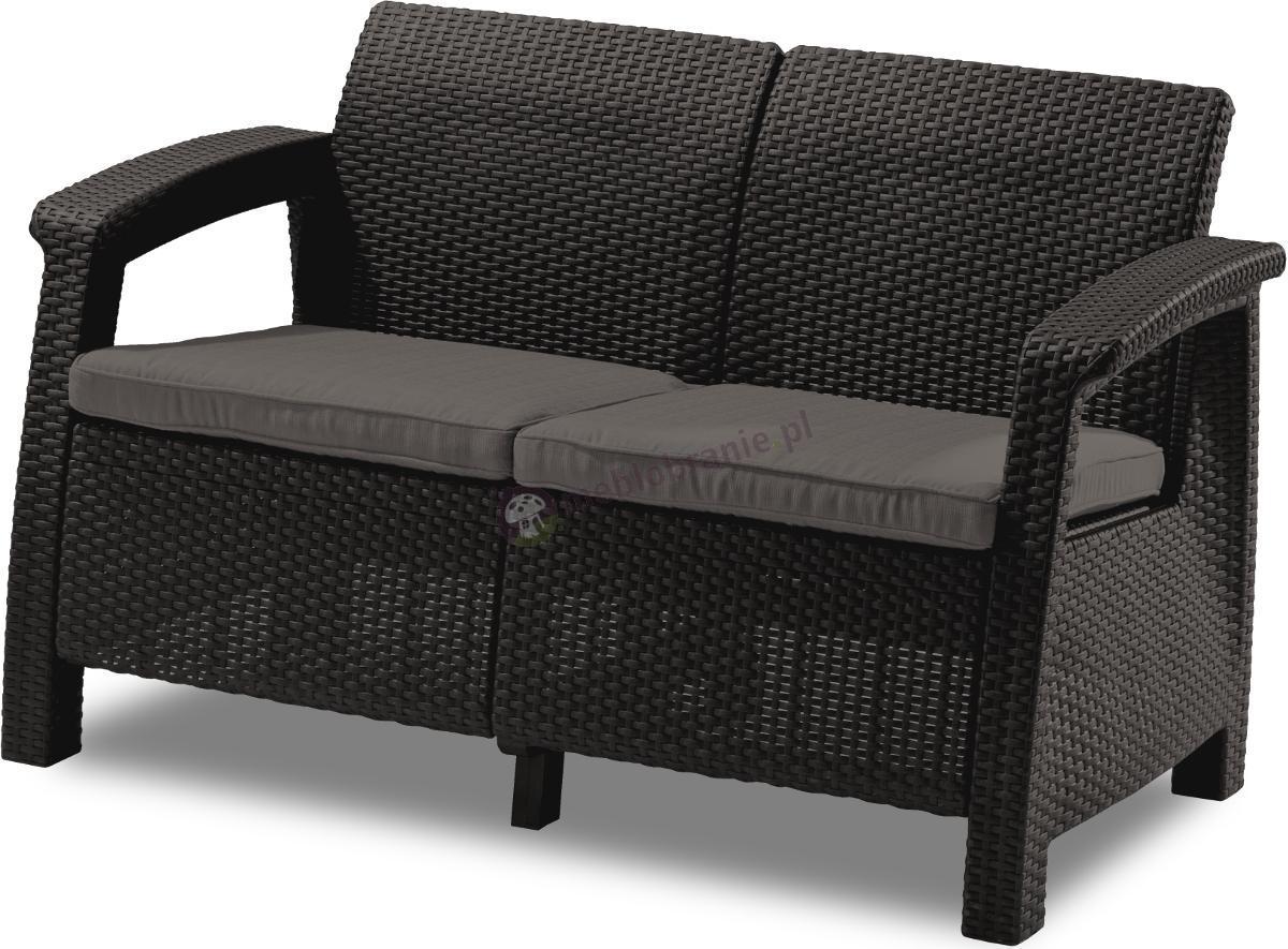 Sofa ogrodowa Corfu Love Seat - brązowa kanapa ogrodowa