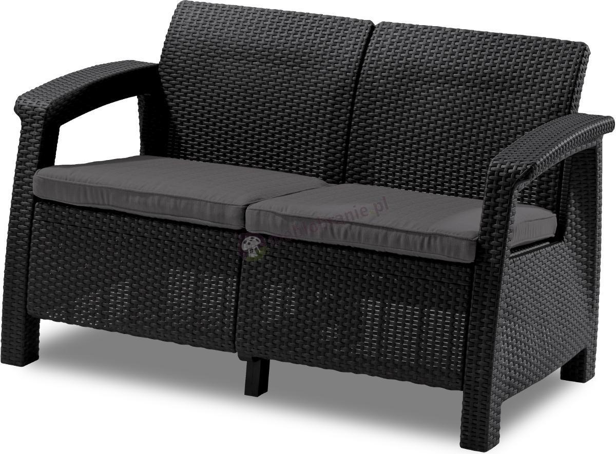 Sofa Corfu Curver Love Seat grafitowa kanapa na taras