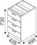 Kontenerek z szufladami Svenbox Invest VKH26 wymiary