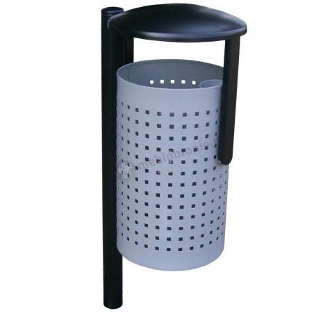 Siatkowy zewnętrzny kosz na śmieci z daszkiem KN2 na słupku
