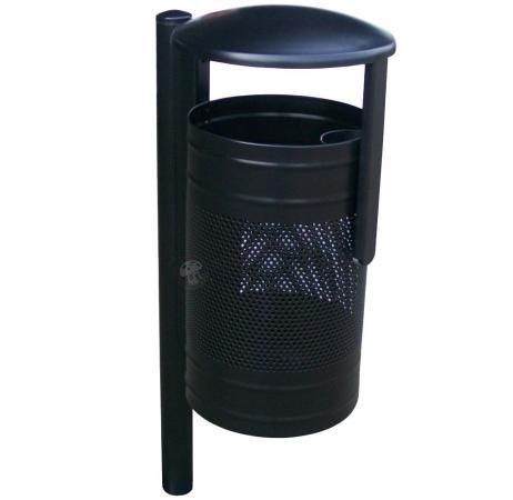 Czarny metalowy kosz na śmieci z daszkiem KN 3 na słupku