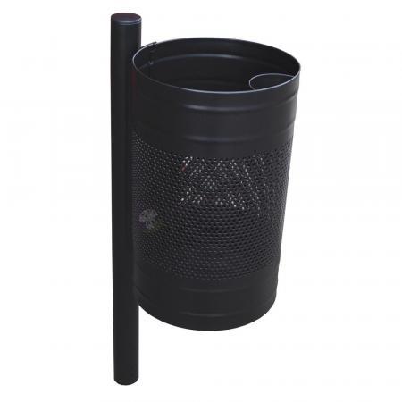 Siatkowy kosz zewnętrzny na śmieci z popielnicą KB 3 na słupku