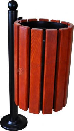 Kosz parkowy drewniany z popielnicą BAROK I na słupku