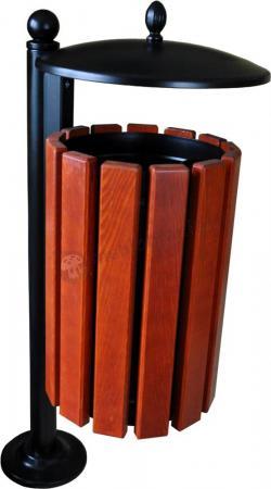 Drewniany kosz na śmieci z daszkiem BAROK II na słupku