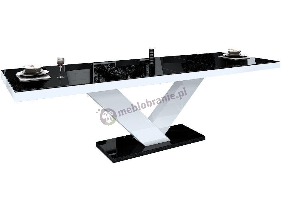 Stół Victoria wysoki połysk - czarny-biały-czarny