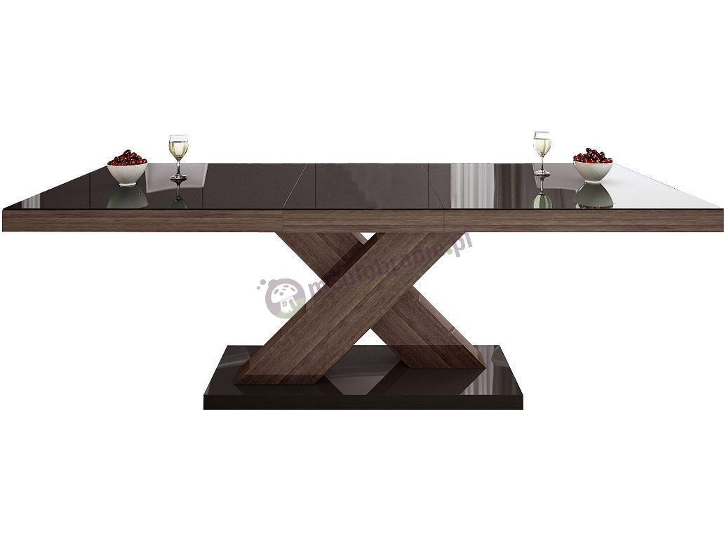 Stół Xenon wysoki połysk - brązowy-dąb-farro-brązowy
