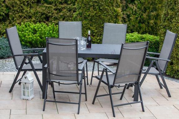 Meble Ogrodowe Aluminiowe Zestaw Ogrodowy Ibiza : Zestaw mebli ogrodowych z aluminium Rimini czarny