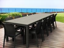 Meble ogrodowe dla 12 osób - stół rozkładany Symphony & Bali - Brąz