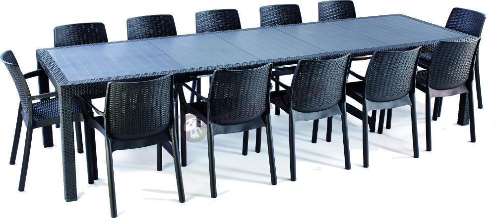 Meble ogrodowe dla 12 osób - stół rozkładany Symphony & Bali - Grafit