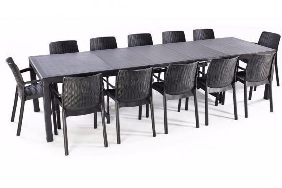 Meble ogrodowe dla 12 osób - Grafit - stół rozkładany 160 do 320cm